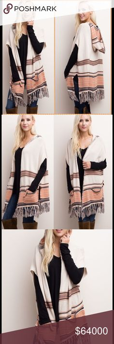 PONCHO/CARDI/VEST Hooded poncho/cardigan/vest. Oh, how I love this piece. Very, very roomy. An XL could easily wear a large. Front pockets. Side slits. If you don't want one for yourself, it will make a great Christmas . You can't go wrong with this poncho. Suitable for all ages. Jackets & Coats Vests