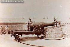 Fotografías Históricas de La Guerra del Pacifico 1879 _ 1884 Cañón de 250 libras en Antofagasta.