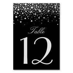 Faux Silver Foil Confetti Dots Black Table Number