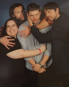"""thebeckydodd:   I don't normally post pics of myself and even once I have the jpgs, I'll probably keep most of my photo ops private but this one of J2M turned out too cute not to share.  I basically said to Jensen (while barely looking up so that I maintained the ability to speak) """"You can make whatever kind of face you want to, but I'd like you in the middle while we hug and love on you.""""  I was so zoned into the fact I was holding onto Jensen, it didn't even register to me that Jared had…"""