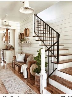 Farmhouse entryway and decor - shiplap walls, iron. - - Farmhouse entryway and decor - shiplap walls, iron. - Farmhouse entryway and decor - shiplap walls, iron. House Design, Home, House Styles, House Inspiration, New Homes, Wall Decor Living Room Rustic, House Interior, Beautiful Bedroom Designs, Rustic House