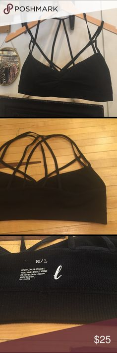 Sexy black strappy bralette This bralette highlights all the parts of you that you want to show off! Great as a top or under a thin shirt! Final price is listed and this totally looks like a free people design. Brand new with out tags Free People Intimates & Sleepwear Bras