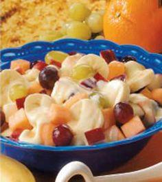 Breakfast Fruit Salad: cantaloupe, apples, grapes, and banana.
