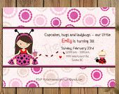 PRINTABLE Birthday Invitation - Cupcakes, Hugs and Ladybugs - PERSONALIZED (Style 13190)