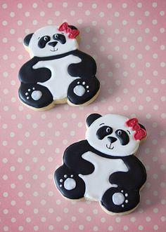 Hand Decorated Sugar Cookies Panda Bear by BeesKneesCreative Bear Cookies, Galletas Cookies, Fancy Cookies, Iced Cookies, Cute Cookies, Royal Icing Cookies, Cookies Et Biscuits, Yummy Cookies, Cupcake Cookies