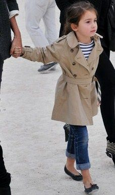 Simply smart and cute. Love the little girl's outfit: Trench, cuffed jeans and ballet flat!