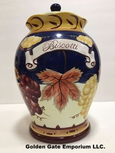 Biscotti Multi Color Ceramic Cookie Jar Hand Painted for Nonnis Made in China | eBay