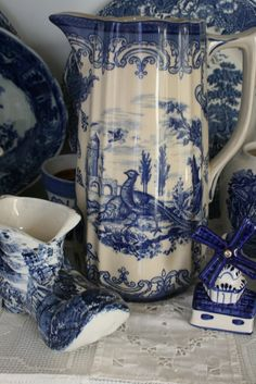 Delft shoe and Windmill with blue Transfer ware Tankard
