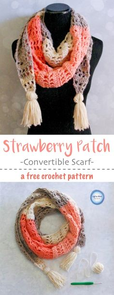 This modern and stylish scarf will take you from winter to spring!  Wear it as a warm scarf or a light shoulder wrap.  Made with one skein of Caron Cakes or your favorite worsted weight yarn.  I hope you enjoy my newest free crochet pattern: the Strawberry Patch Convertible Scarf.