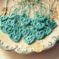 Tiny Blue Crochet Hearts