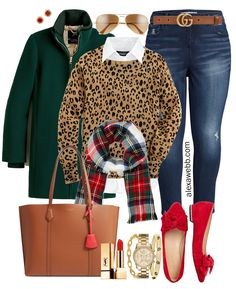 Plus size holiday outfit ideas with a beautiful leopard cashmere sweater, white. Plus size holiday outfit ideas with a beautiful leopard cashmere sweater, white button down, tartan scarf, and jeans or a sequin skirt! Leopard Sweater, Fall Outfits, Casual Outfits, Cute Outfits, Vegas Outfits, Woman Outfits, Party Outfits, White Sweaters, Outfits