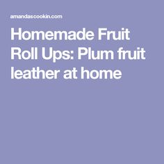 Homemade Fruit Roll Ups: Plum fruit leather at home