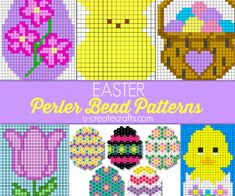Free Easter Perler Bead Patterns by U-create.Kids are crazy about perler bead crafts and each season we love to share amazing patterns with the holiday themes! You'll find peeps, Easter eggs, bunnies, and more!