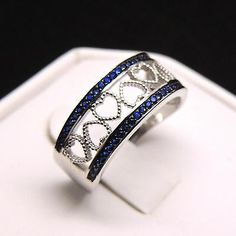 Lacy Ring Genuine 925 Sterling Silver Hearts Blue Cubic Zirconia Wedding Band