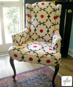 Cute! Love the pattern. #wingback #chair #furniture