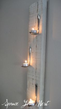 30 Innovative DIY Candles - tea spoon and tea light wall art Hanging Tea Lights, Wall Lights, Diy Hanging, Hanging Towels, Light Wall Art, Deco Originale, Ways To Recycle, Creation Deco, Ideias Diy