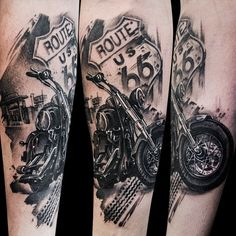 Route 66 Motorcycle Tattoo by Azazel Warszawa