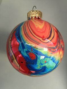 "2.6"" Artistically painted glass ornament, Unique gift Idea"