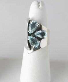 Aquamarine Sterling silver handmade ring by Marksz