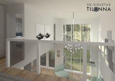 3D- sisustussuunnittelu ja visualisointi / Modernin omakotitalon yläkerran aula, lasikaide, valkovahattu tammiparketti, valkoiset maalatut seinät, akustiikkapaneelit harmaa/vaaleanharmaa/tummaharmaa leikautettu epäsymmerisen kokoisiksi suorakulmioiksi, kromin värinen Crown major valaisin/ Keski-Suomen Rakennuskeskus, Korteniityntie 15-21, ennakkomarkkinointi/ 3D-sisustus Tilanna, sisustussuunnittelija Jyväskylä