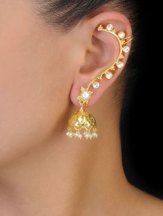 Pearl and Crystal Gold Tone Silver Ear Cuffs