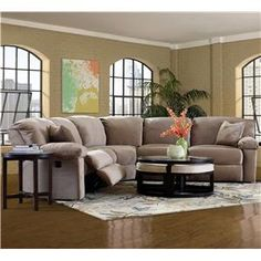 Kensington Three Piece Power Reclining Sectional Sofa by Klaussner - Wolf Furniture - Reclining Sectional Sofa Pennsylvania, Maryland, Virginia Howell Furniture, Hudson Furniture, Living Room Furniture, Living Room Decor, House Furniture, Dining Room, Sectional Sofa With Recliner, Reclining Sectional, Recliners