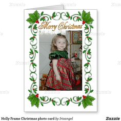 Holly Frame Christmas photo card