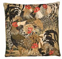Roosters II - Fine Woven Tapestry Cushion Fine Woven Tapestry Cushion finished with luxurious British velvet back Cushion made in England by Hines of