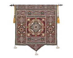 """100% Cotton Moroccan Woven Fine Art Tapestry Wall Hanging & Tassels 54"""" x 66"""" #Unbranded #AntiqueStyle"""