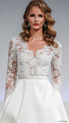 anne barge fall 2017 bridal lace illusion long sleeves v neck heavily embellished bodice top a  line wedding dress pockets lace illusion back sweep train (brooks) zv