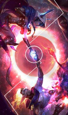 Cosmic paradise, Xayah and Rakan by Freddyflow
