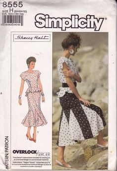 1980s Simplicity 8555 Peplum Top and Skirt with Godets Vintage Sewing Pattern Size 6 8 10 Bust 30 1/2 - 31 1/2 - 32 1/2 inches UNCUT Factory Folded