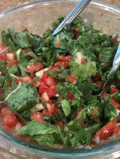 Salad with collard greens, mustard greens, tomato, cucumber, red bell pepper, red onion, celery, fresh squeezed lemon juice, and Mediterranean Dressing {EVOO, garlic, salt  pepper} http://www.VegasFitClub.com