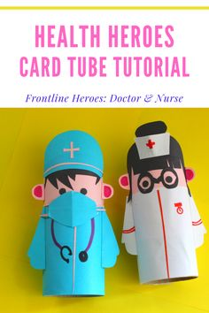 A really easy to follow, step by step tutorial to make these Health Heroes with the kids to display on your window ledge to show support for our frontline workers. 🌈🌈🌈🌈#cardboardroll #looroll #toiletroll #cardboardtube #papercraft #craft #kidscraft #doctor #nurse #heroes #covid19 #paperscissorsso Paper Crafts For Kids, Easy Crafts For Kids, Projects For Kids, Diy For Kids, Fun Crafts, Preschool Crafts, Diy Paper, Diy Projects, Cardboard Rolls