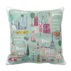 Travel London New York Paris   Cotton Throw Pillow Throw Pillow Cases, Throw Pillows, Travel Bedroom, Map Of New York, Diy Home, Home Decor Bedroom, Bedroom Ideas, Master Bedroom, Artists