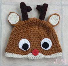 Crochet Reindeer Hat - Rudolph