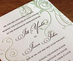 2011 Winter Wedding Color Trends<br>  Green and White Wedding Invitations