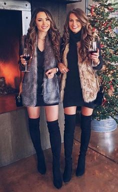 Great 40 Winter Fashion 2018 Outfits To Copy - Women Fashion Ideas Winter Mode Outfits, Winter Fashion Outfits, Holiday Outfits, Autumn Winter Fashion, Casual Outfits, Cute Outfits, Fur Vest Outfits, 2018 Winter Fashion Trends, Fashion Clothes