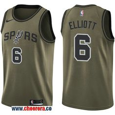 d34024cfe Men s Nike San Antonio Spurs  6 Sean Elliott Green Salute to Service NBA  Swingman Jersey