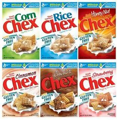 Gluten Free Products :CEREALS   These are the 6 Chex cereals that are gluten free. A tasty Chex mix ...
