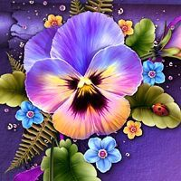 Moonbeam's Fanciful Pansy - as the name suggests, is an exquisite package embellished with bright hand-painted Pansy flowers, leaves, tiny blue and yellow flowers and bright butterflies. Art Floral, Flower Images, Flower Pictures, Flower Art, Yellow Flowers, Beautiful Flowers, Painted Rocks, Hand Painted, China Painting