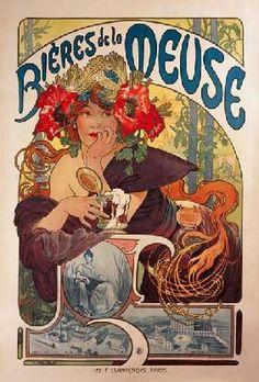 Alphonse Mucha - Poster advertising ''Bieres de la Meuse''