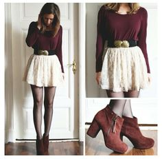 Maroon sweater, cream lace skirt, black belt, and tights- perfect fall outfit