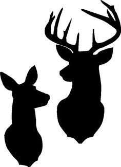 Buck and Doe Deer silhouette stencils. The come as a single stencil measuring 10 Deer Silhouette Printable, Snowflake Silhouette, Deer Head Silhouette, Dragon Silhouette, Silhouette Clip Art, Animal Silhouette, Deer Stencil, Stencils, Cervo Tattoo