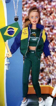 Modelo de boneca Barbie Olimpíadas com uniforme do Brasil