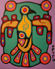 Christian Morrisseau-Great Thunderbird Norval Morrisseau Native Art, Native American Art, American Artists, Canadian Symbols, Canadian Holidays, Cultural Crafts, Woodland Art, Haida Art, Native Design