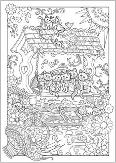 Creative Haven Creative Kittens Coloring Book @ Dover Publications Free Adult Coloring Pages, Cat Coloring Page, Mandala Coloring Pages, Animal Coloring Pages, Colouring Pages, Printable Coloring Pages, Coloring Sheets, Creative Haven Coloring Books, Colorful Drawings