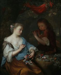 View A seated young woman fashioning a garland of flowers with a boy playing a flute, in a wooded landscape by Arnold Boonen on artnet. Browse upcoming and past auction lots by Arnold Boonen. Young Boys, Young Women, Dutch Golden Age, Dutch Painters, Boys Playing, Baroque Fashion, Flower Garlands, Fine Art Gallery, Flute