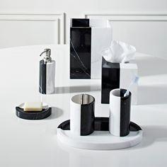 Canaan Blakc & White Marble Soap Dispenser | Bath Accessories | Jonathan Adler