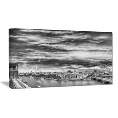 """DesignArt Black and White Panoramic London Photographic Print on Wrapped Canvas Size: 12"""" H x 20"""" W x 1"""" D"""
